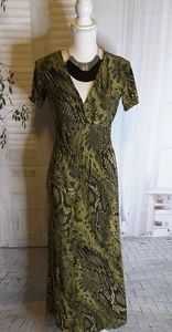 Cristinalove green animal print maxi dress size S